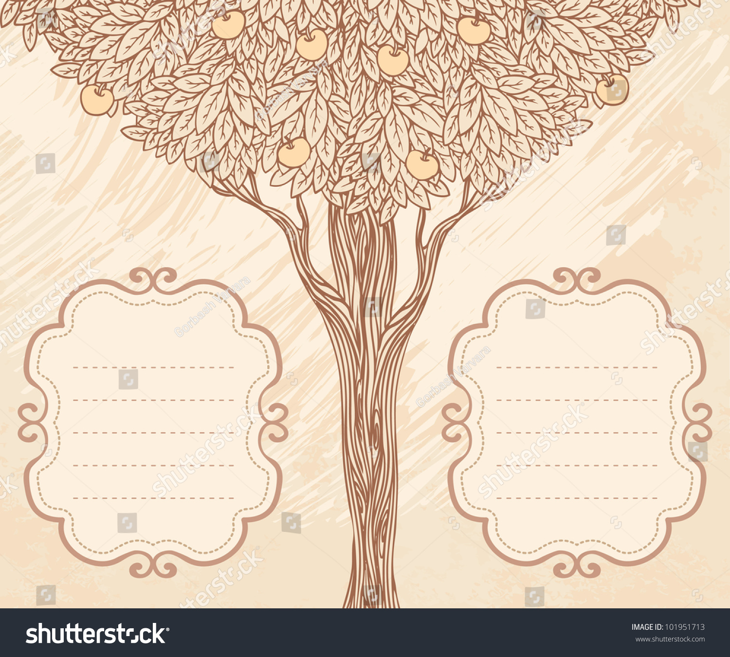 Vector apple tree two frames empty stock vector 101951713 vector apple tree and two frames with empty place for text invitation card template design stopboris Gallery