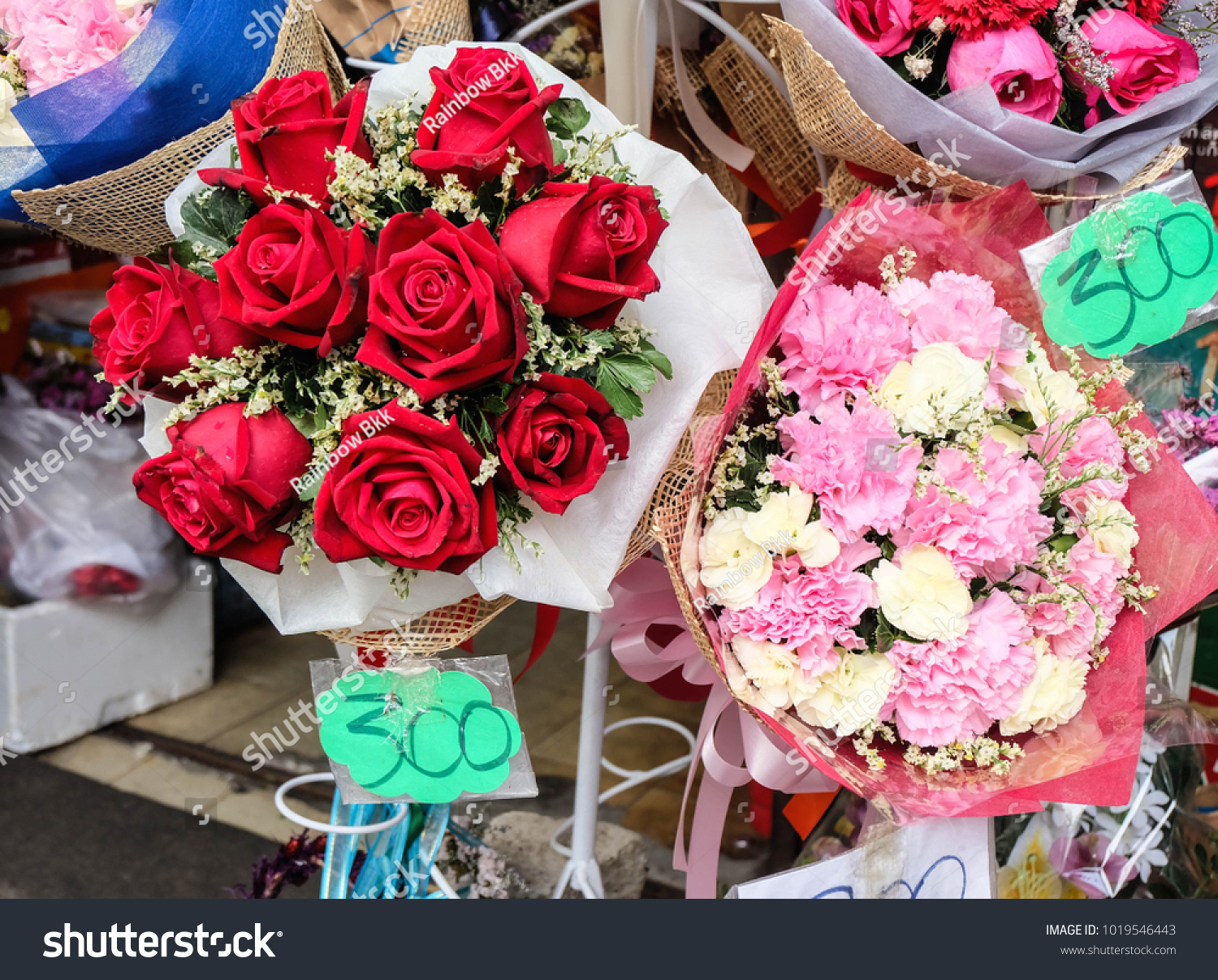 Bouquets Roses Carnation Selling Price Tag Stock Photo (100% Legal ...