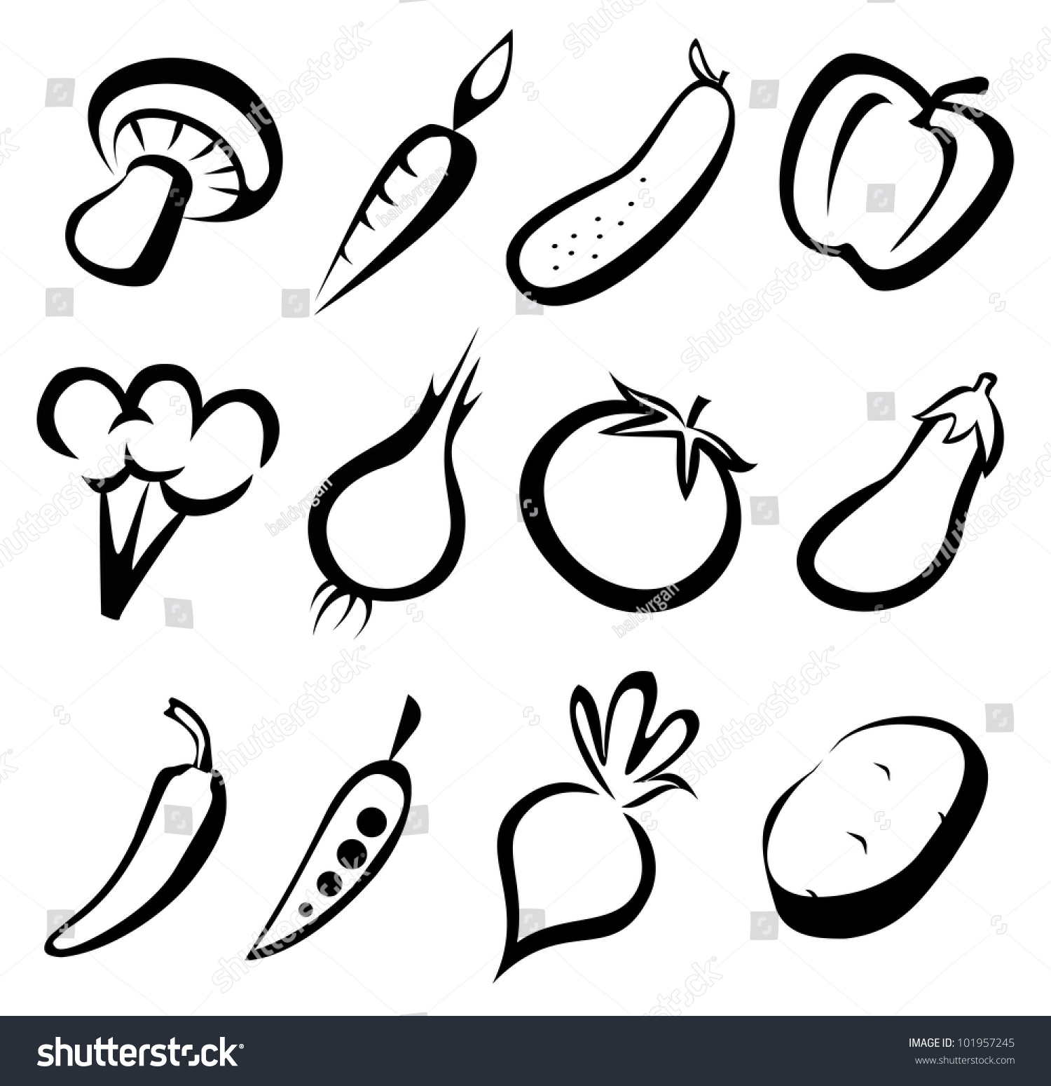 Line Drawing Zucchini : Vegetables icon set sketch black lines stock vector