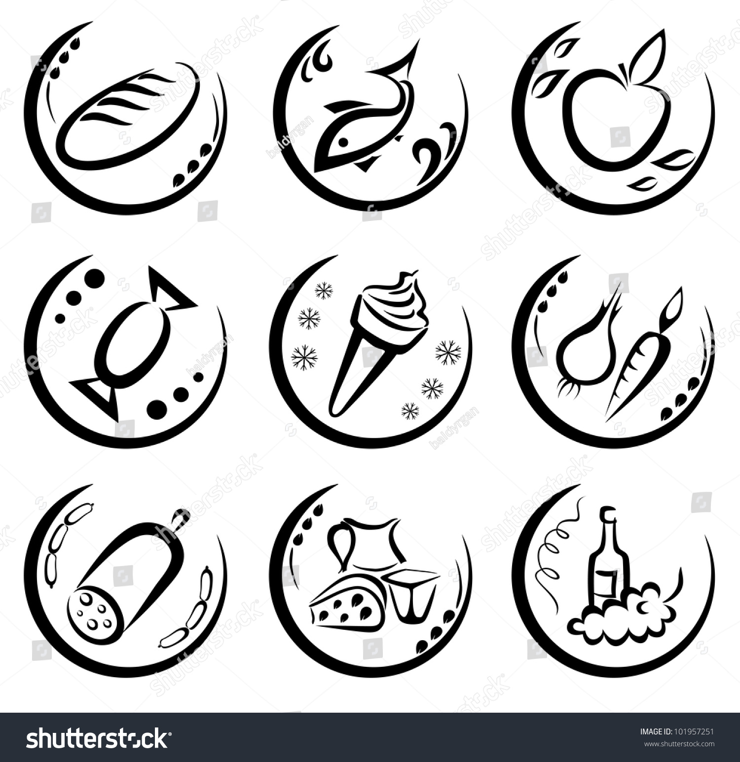 Market Food Icons Set Labels Food Stock Vector Royalty Free