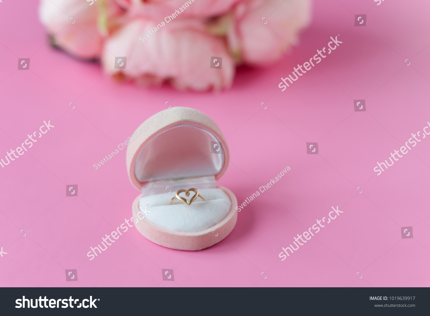 Engagement Ring Flowers On Pink Background Stock Photo (Edit Now ...