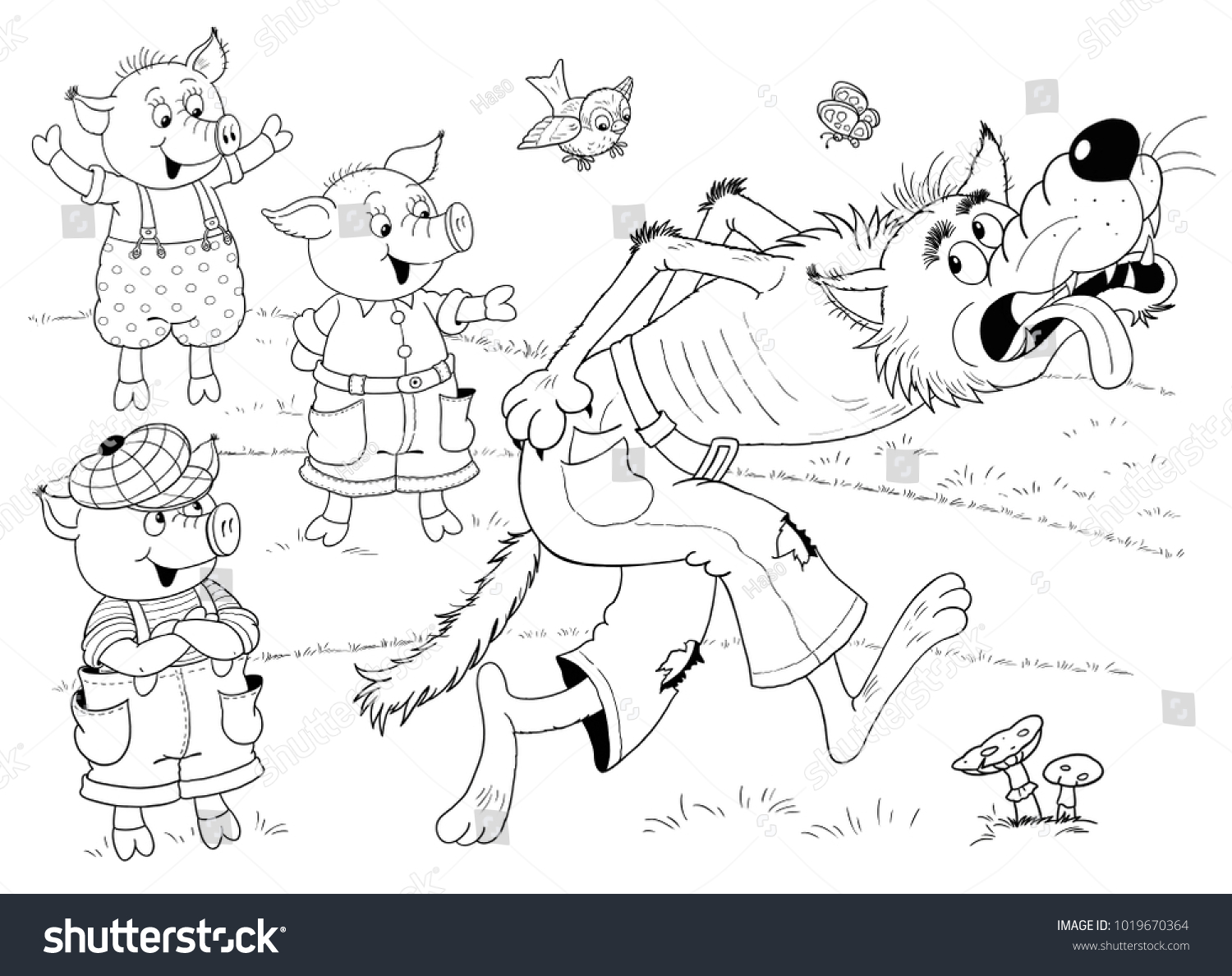 Three Little Pigs Fairy Tale Coloring Stock Illustration 1019670364 ...