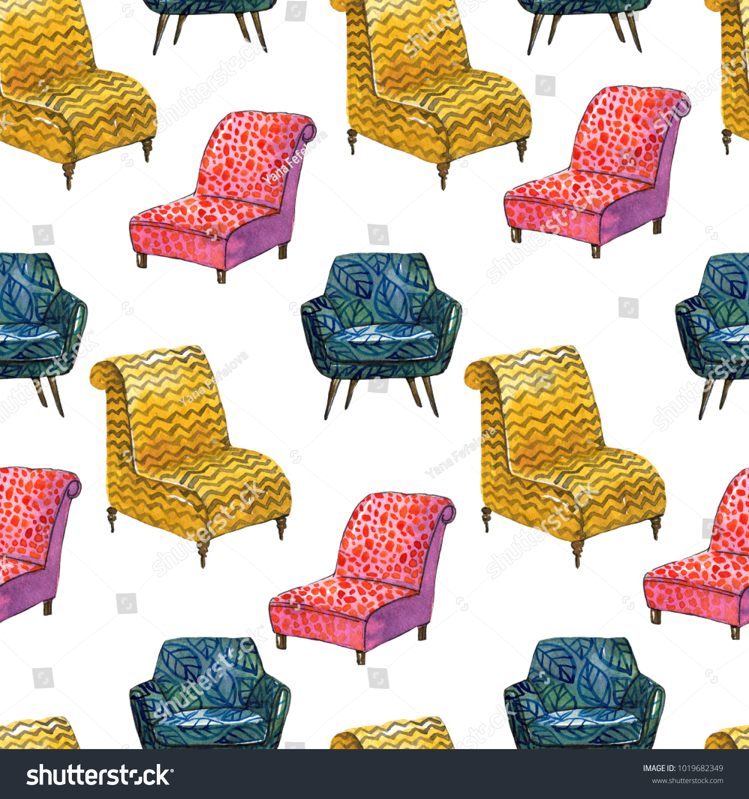 Colorful Pattern Different Chairs Watercolor Style Stock ...
