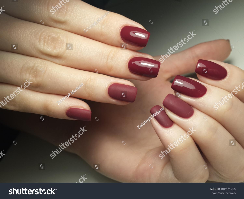 Burgundy Nails Matte Shade Stock Photo & Image (Royalty-Free ...