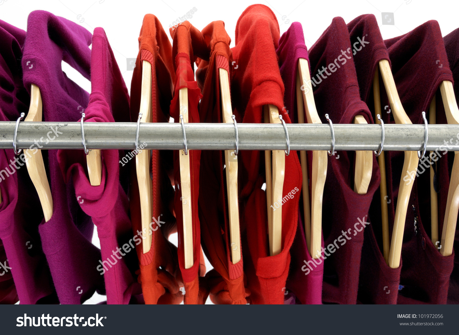 Top View Rack Colorful Shirts Stock Photo 101972056
