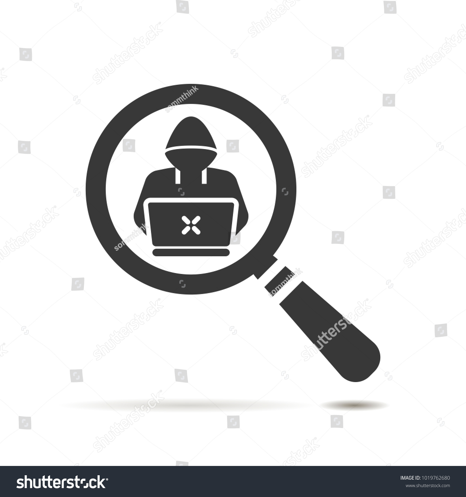 Flat search icon hacker software engineer stock vector 1019762680 flat search icon with hacker or software engineer symbol on white background magnifier glass icon biocorpaavc