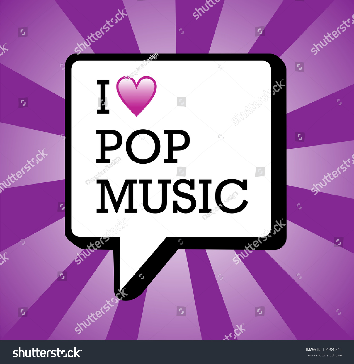 I Love Pop Music Text In Communication Bubble Background
