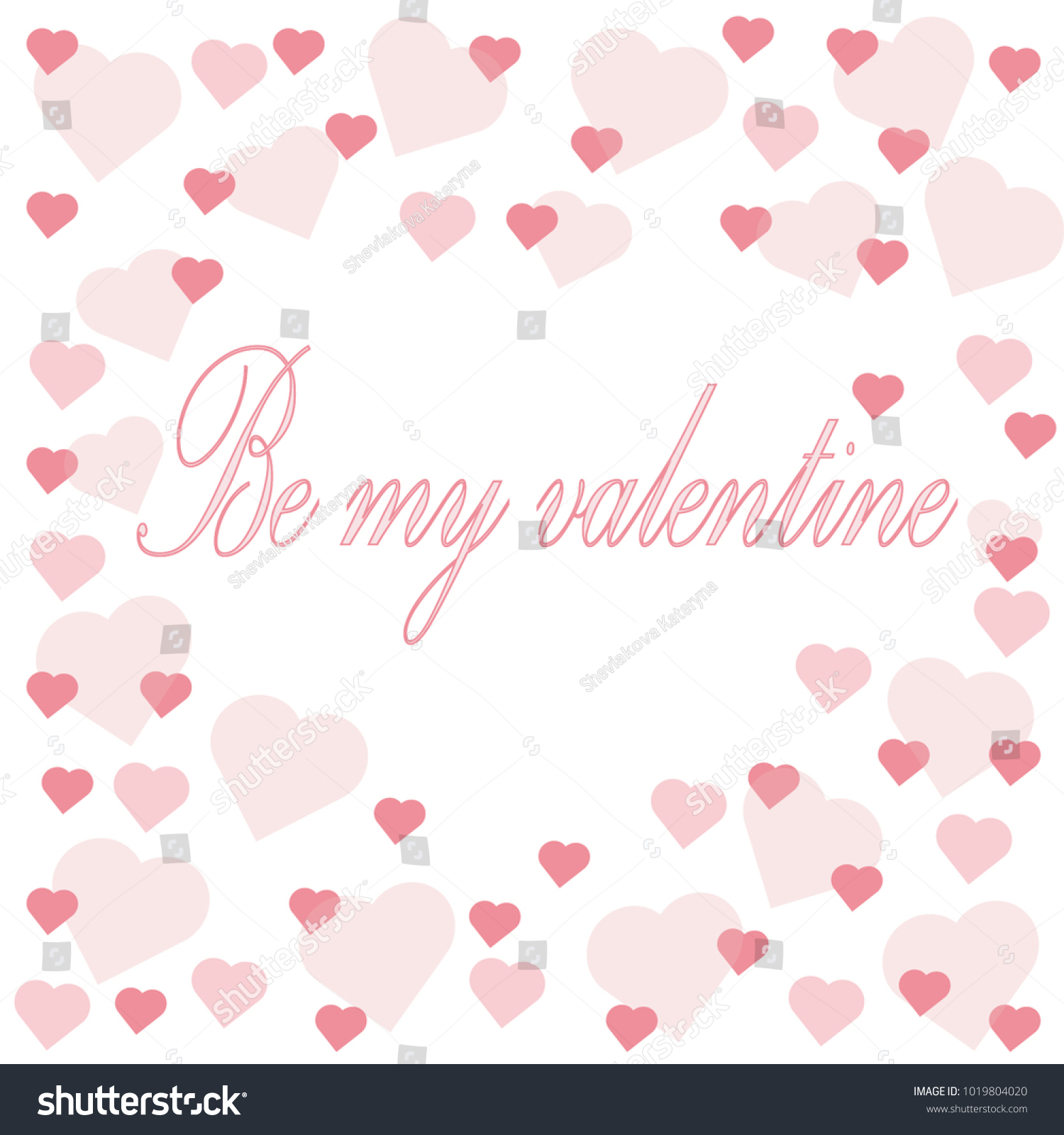 Greeting Card On A Shiny Background With Pink Hearts And An