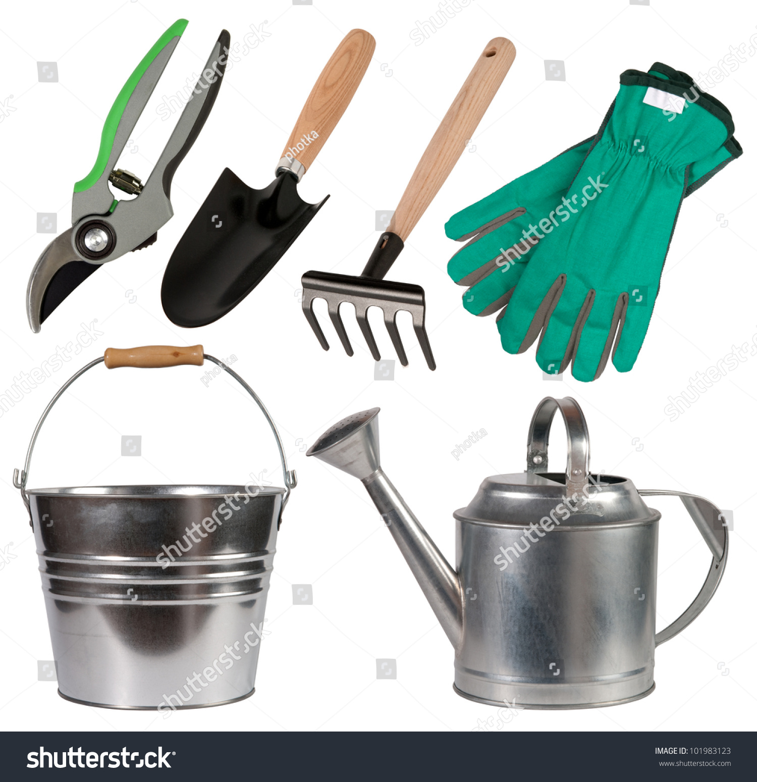 Gardening tools isolated on white background stock photo for Home and garden equipment