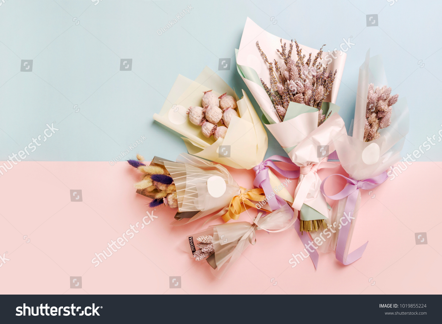 Small Bouquets Dried Flowers Bunny Tail Stock Photo (Download Now ...