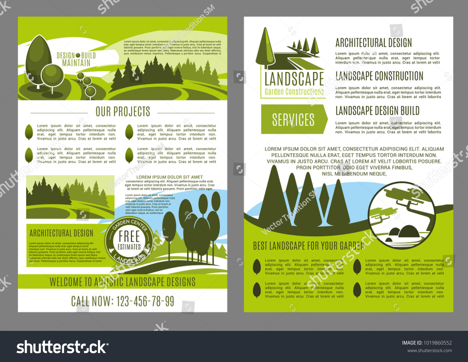 green landscape design brochure template for build and maintain