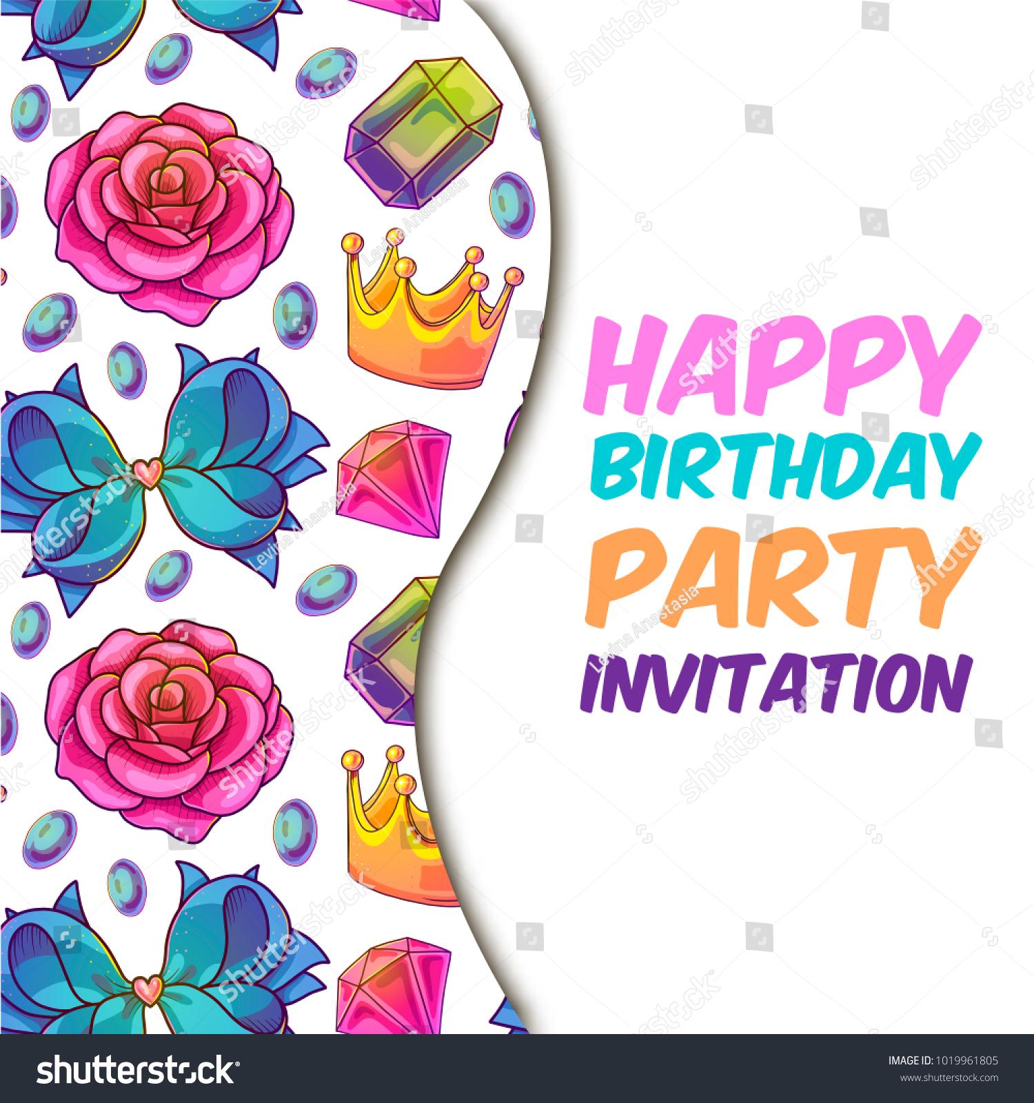 Happy Birthday Party Invitation Cute Magic Stock Vector 1019961805 ...