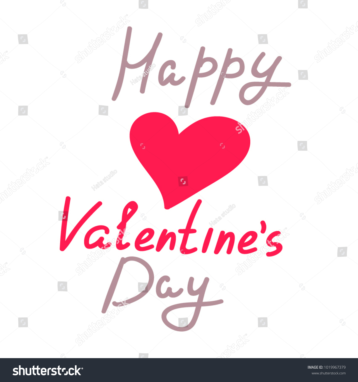 Happy Valentine S Day Words And Red Heart Vector Illustration Ez
