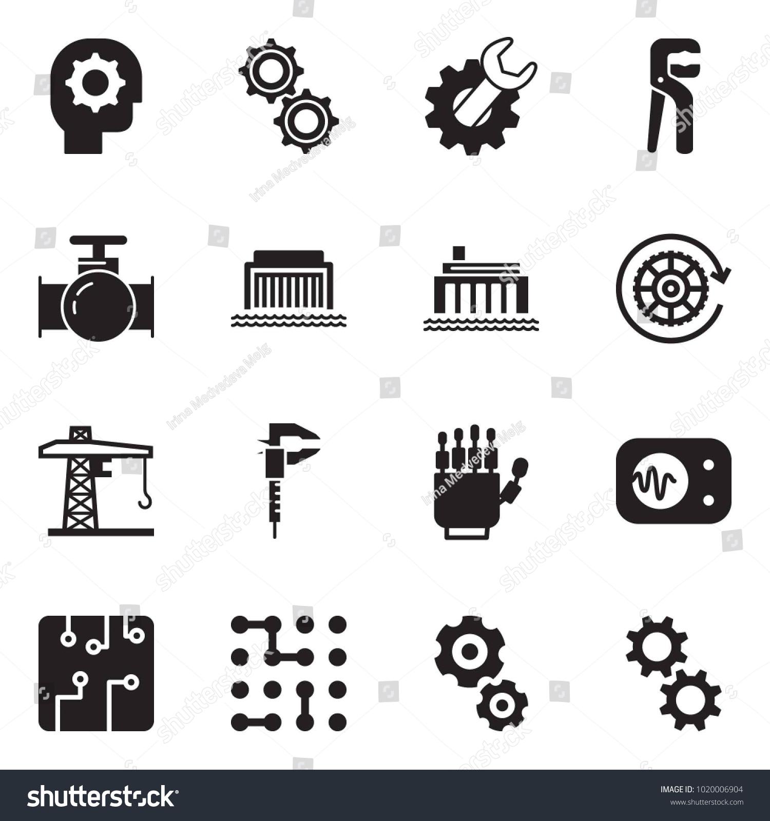 Solid black vector icon set gear stock vector 1020006904 solid black vector icon set gear head vector gears wrench adjustable buycottarizona