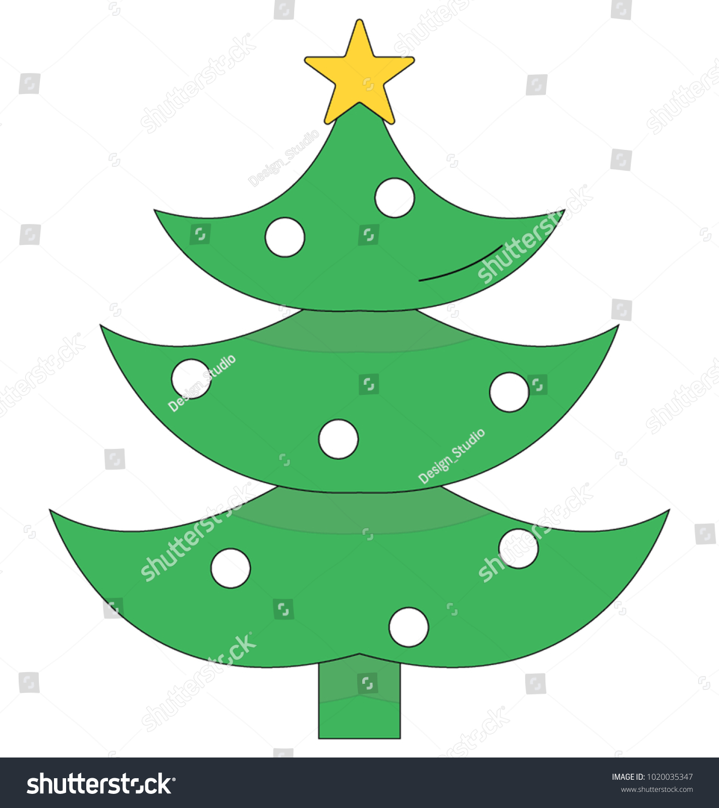 Christmas Tree Color Illustration Vector Icon Stock Vector ...