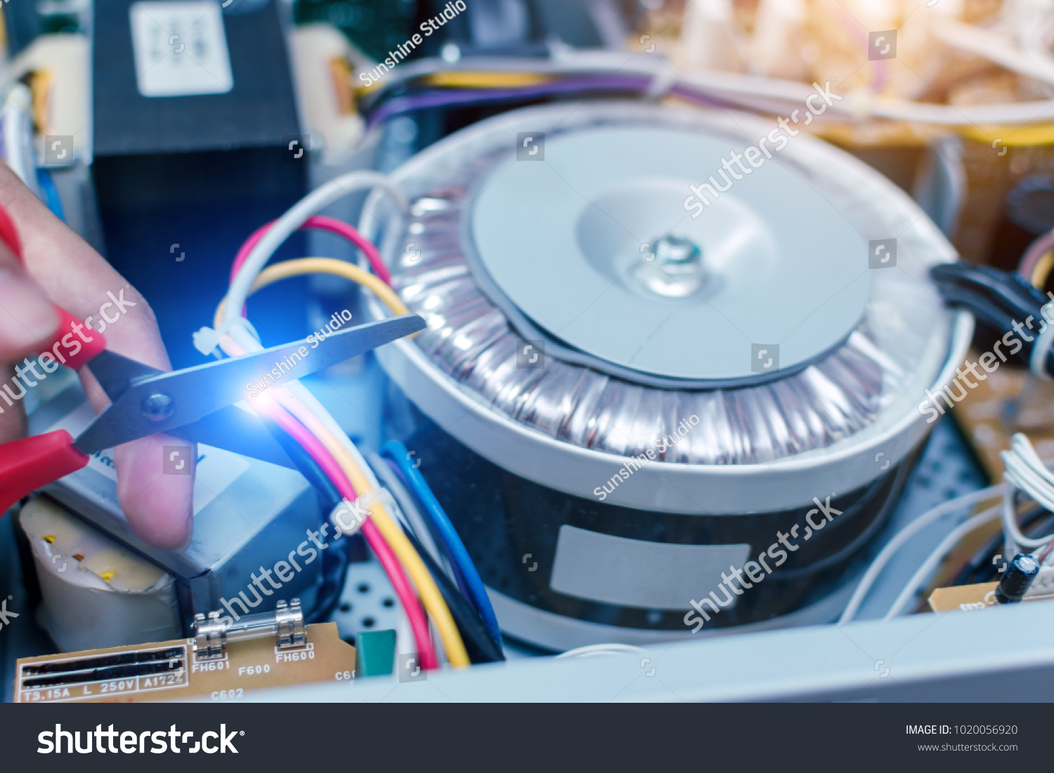 Electrician Cutting Power Lines Electronic Circuit Stock Photo Edit Boards Images Of Is Board At Officeconcept Repairing Technology
