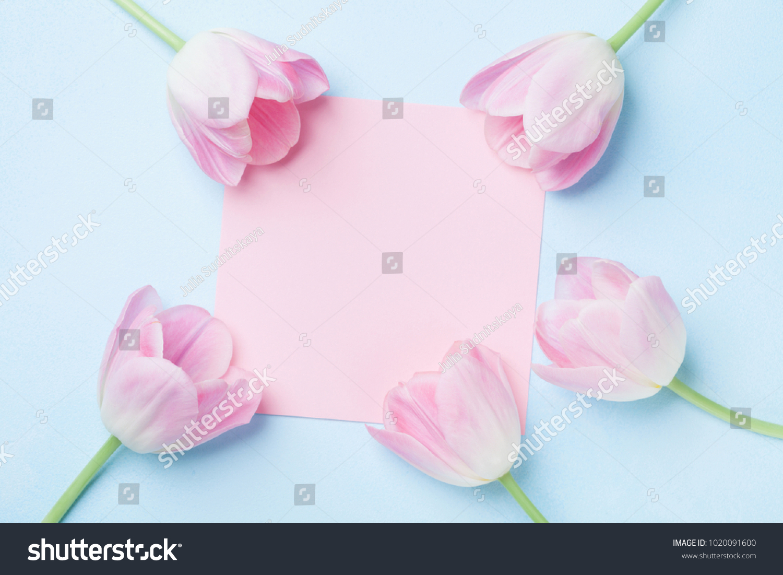Wedding Mockup Pink Paper List Tulip Stock Photo Royalty Free