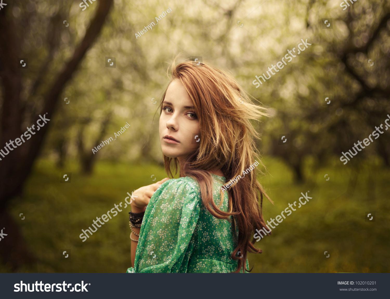 Beautiful Girl Looks Garden Stock Photo (Royalty Free) 102010201 ...