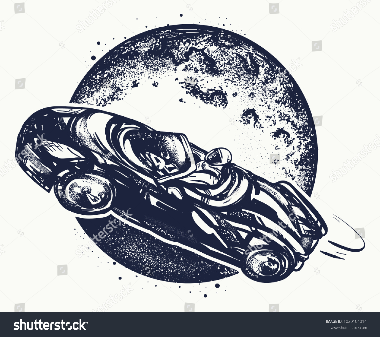 Car Space Tattoo Tshirt Design Symbol Stock Vector Royalty Free