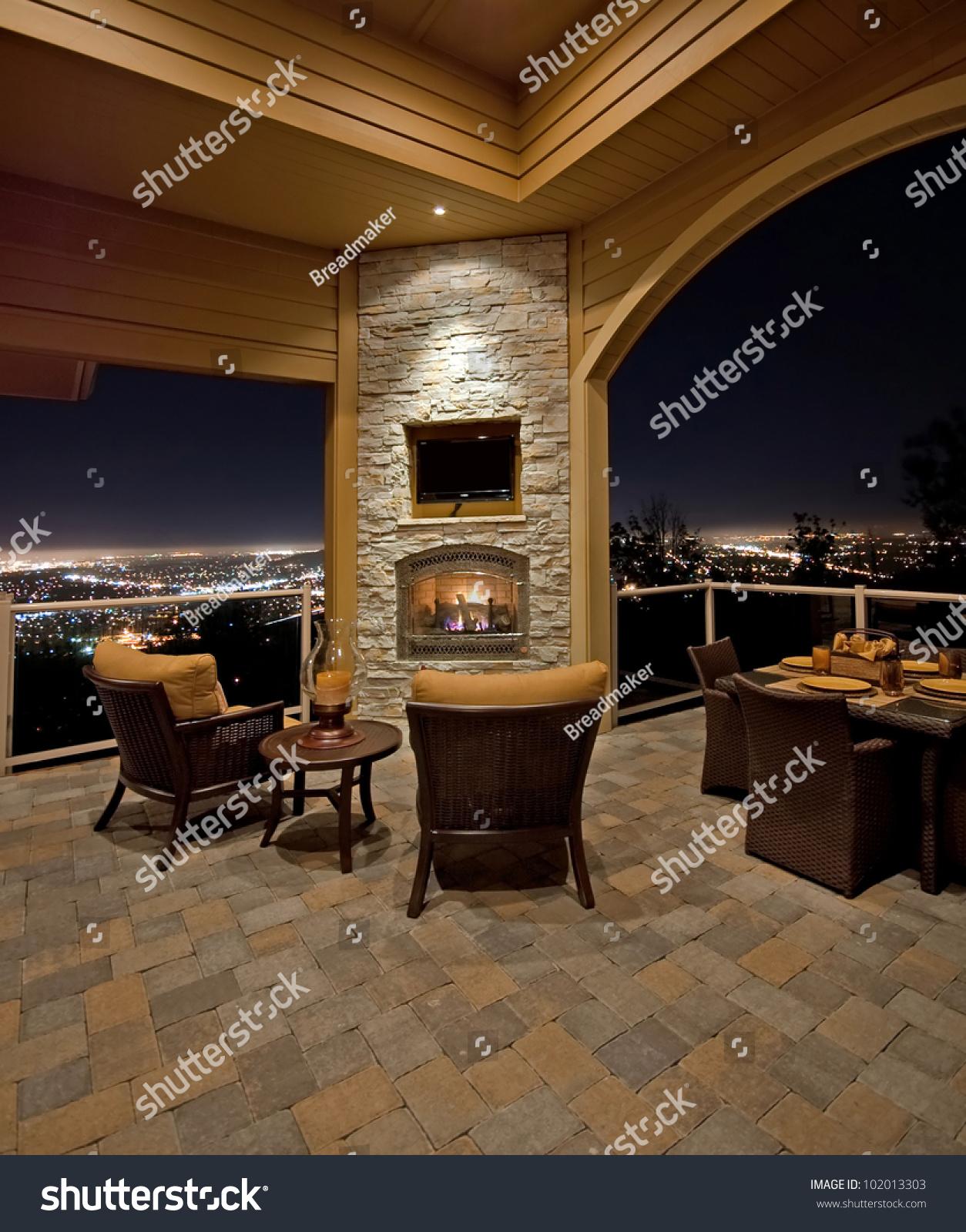Beautiful Patio View Night Outside Luxury Stock
