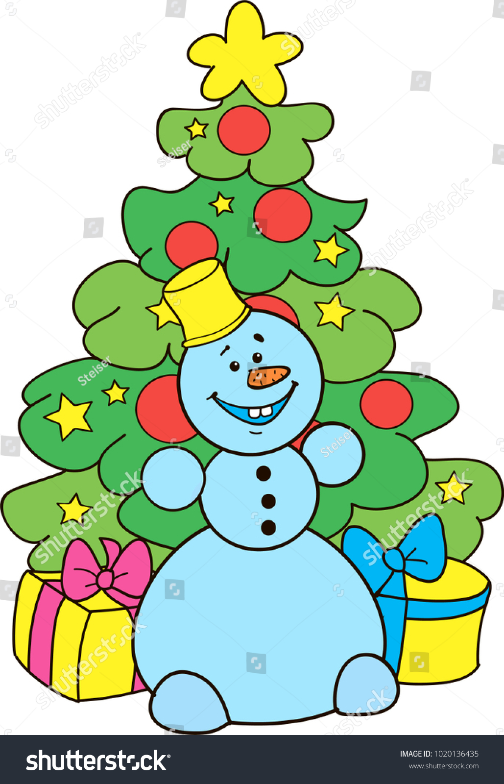 Coloring Page Outline Cartoon Smiling Snowman Stock Vector ...