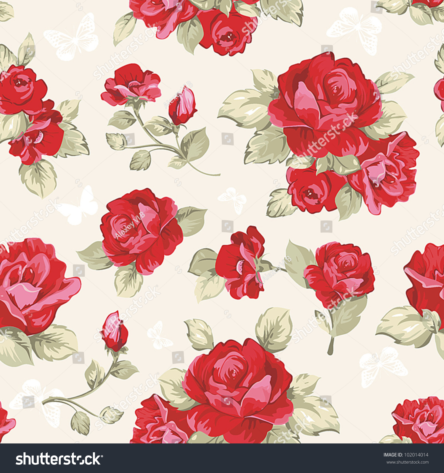 Seamless Wallpaper Pattern With Of Collection Red Roses On Design Background Vector Illustration