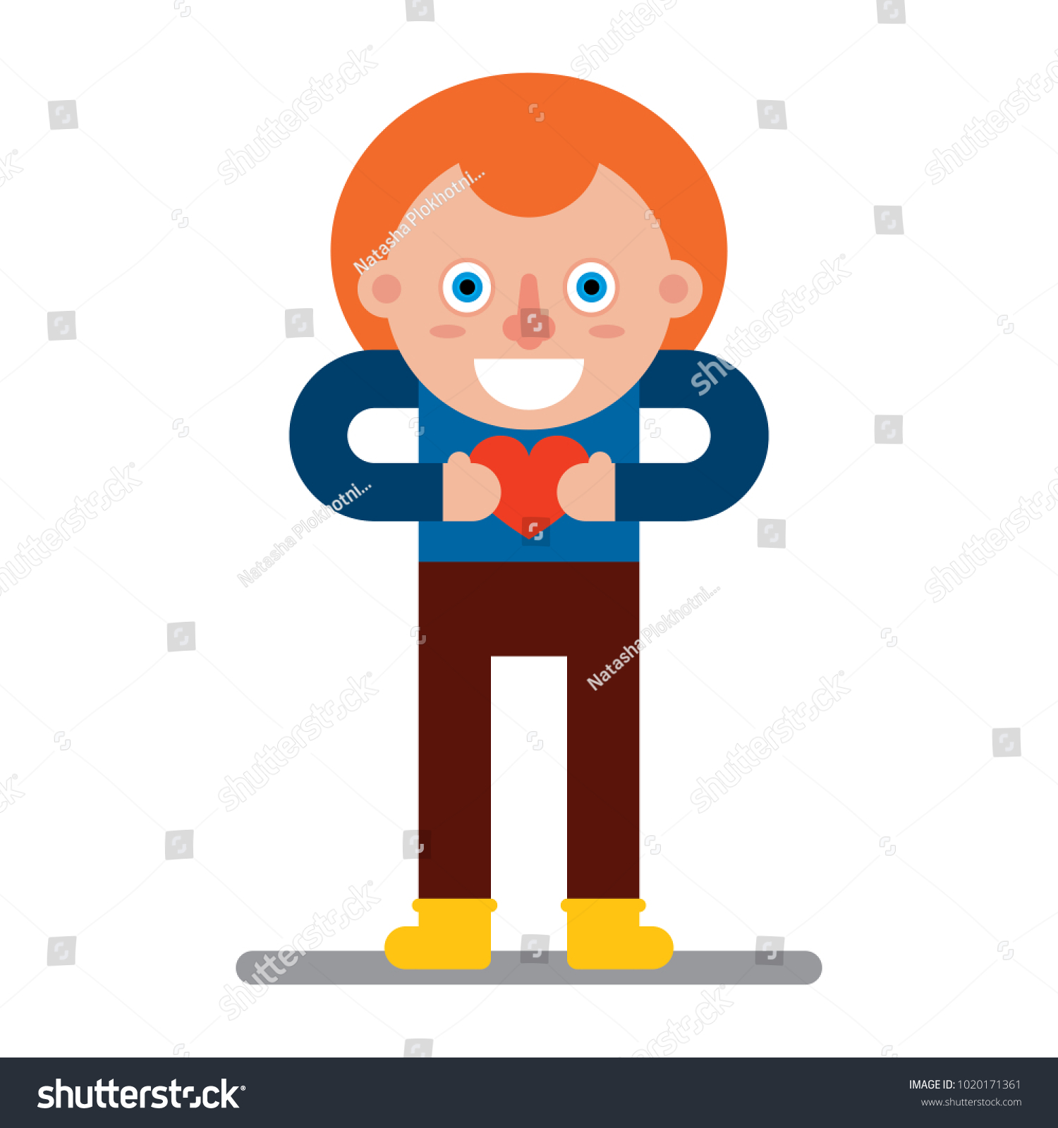 Character Flat Style Red Boy Holding Stock Image Download Now