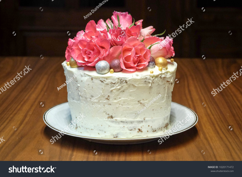 Vintage Romantic Birthday Cake Pink Roses Stock Photo Edit Now