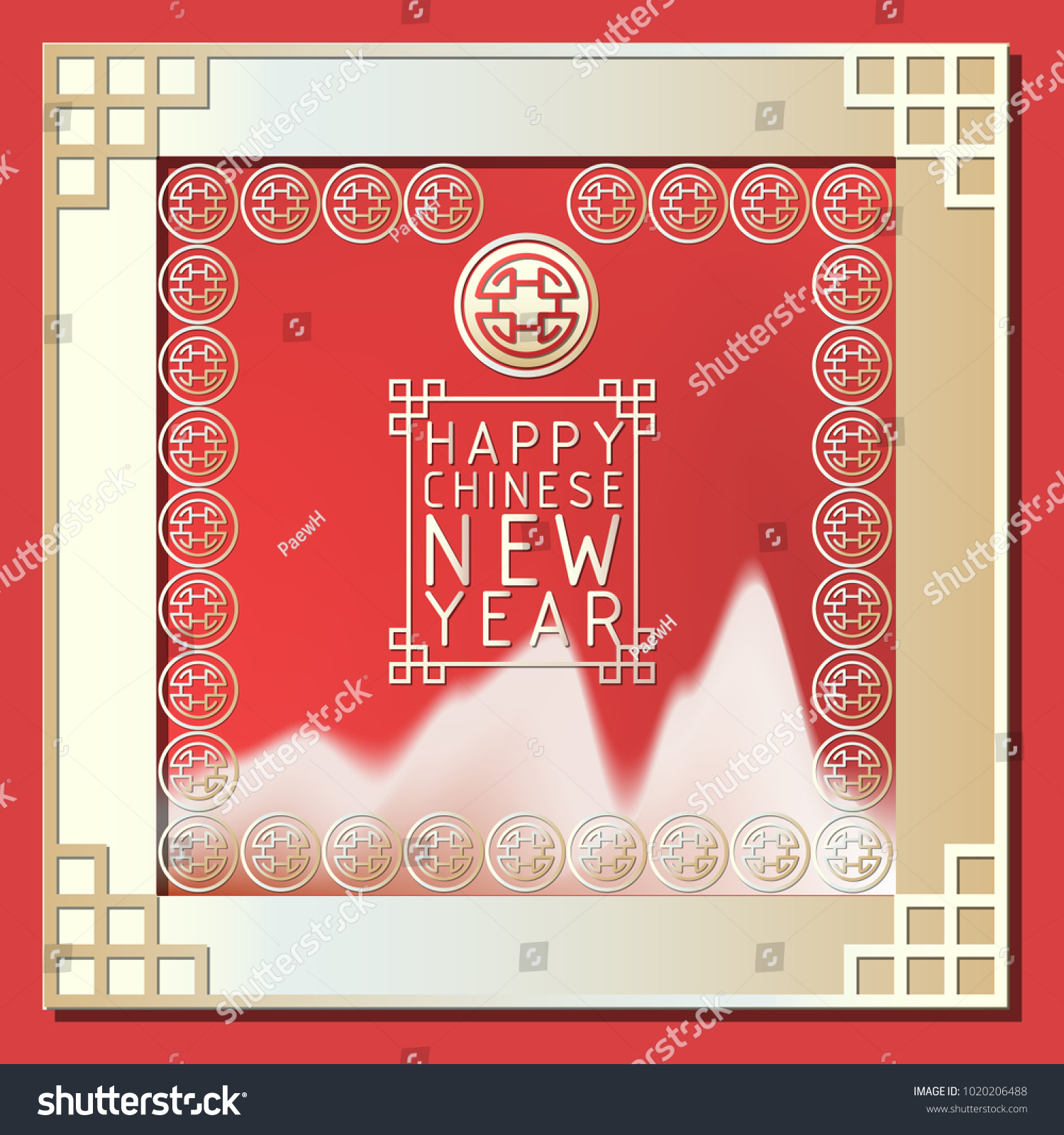 happy chinese new yearvector illustration for invitation or greeting cardmodern and minimal