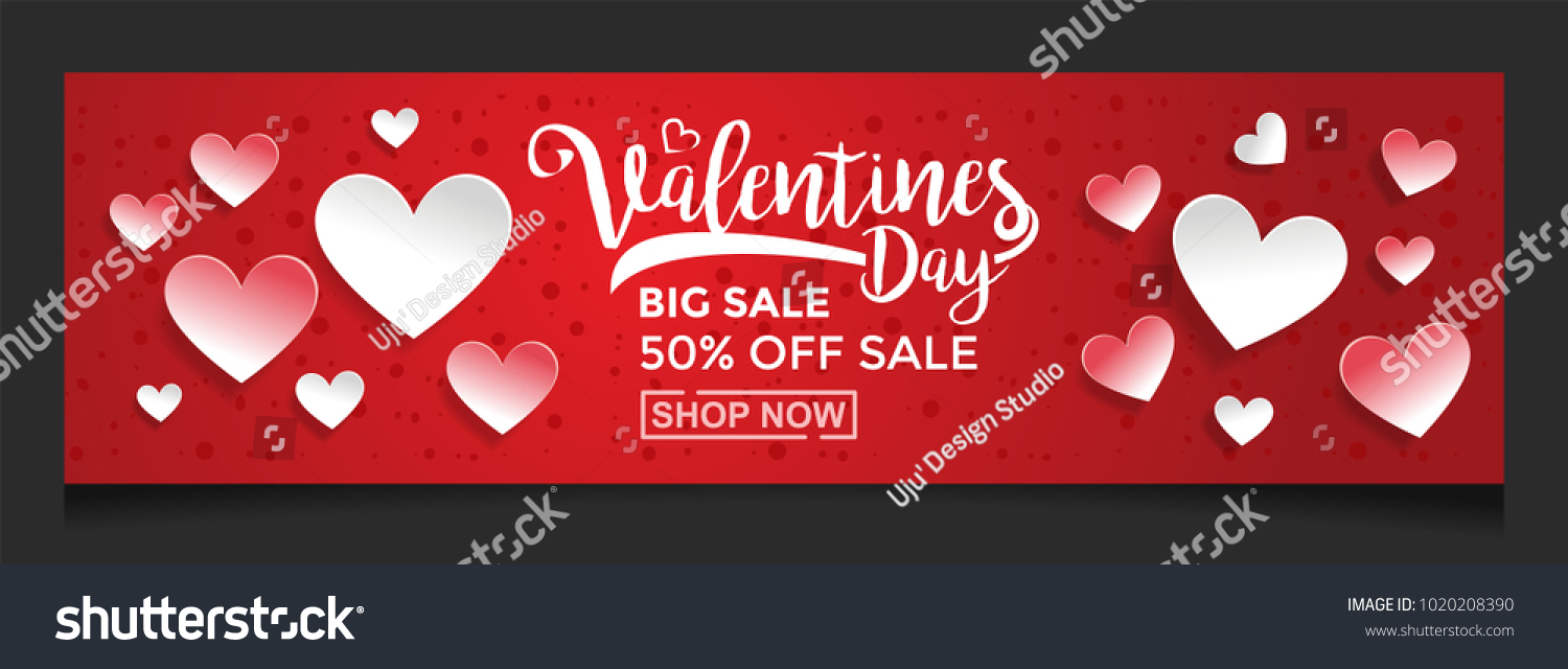 Valentines Day Sale Background Love Paper Stock Vector Royalty Free