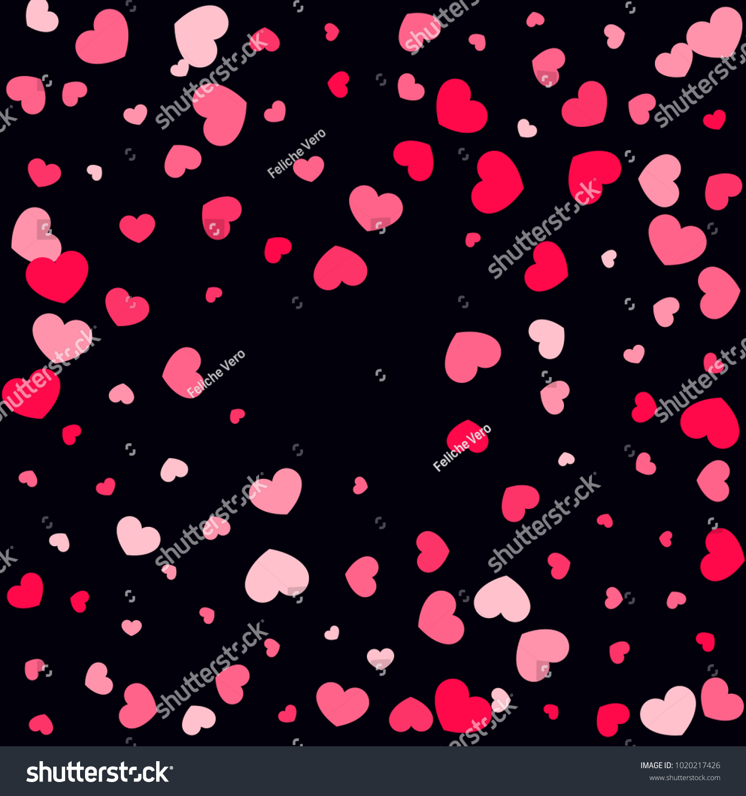 Pink Hearts Random Falling On Black Stock Vector Royalty Free