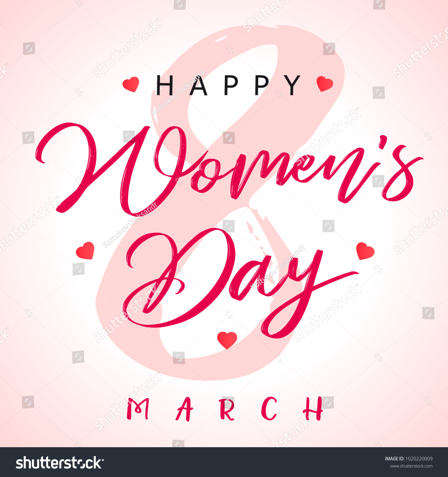 8 March Calligraphy Happy Womens Day Stock Vector Royalty Free