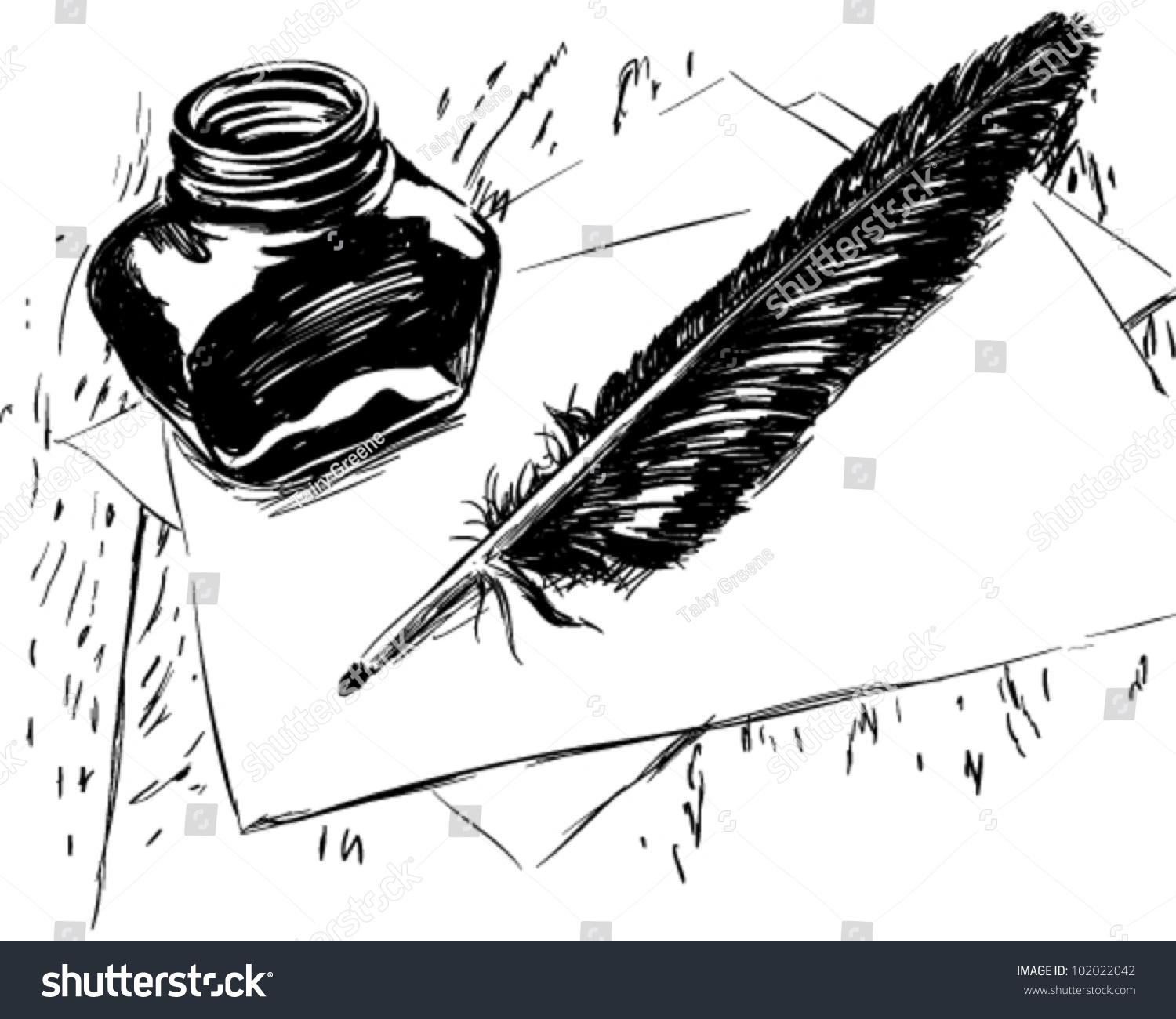 Line Drawing Of Quill : Hand drawn ink quill bottle illustration stock vector