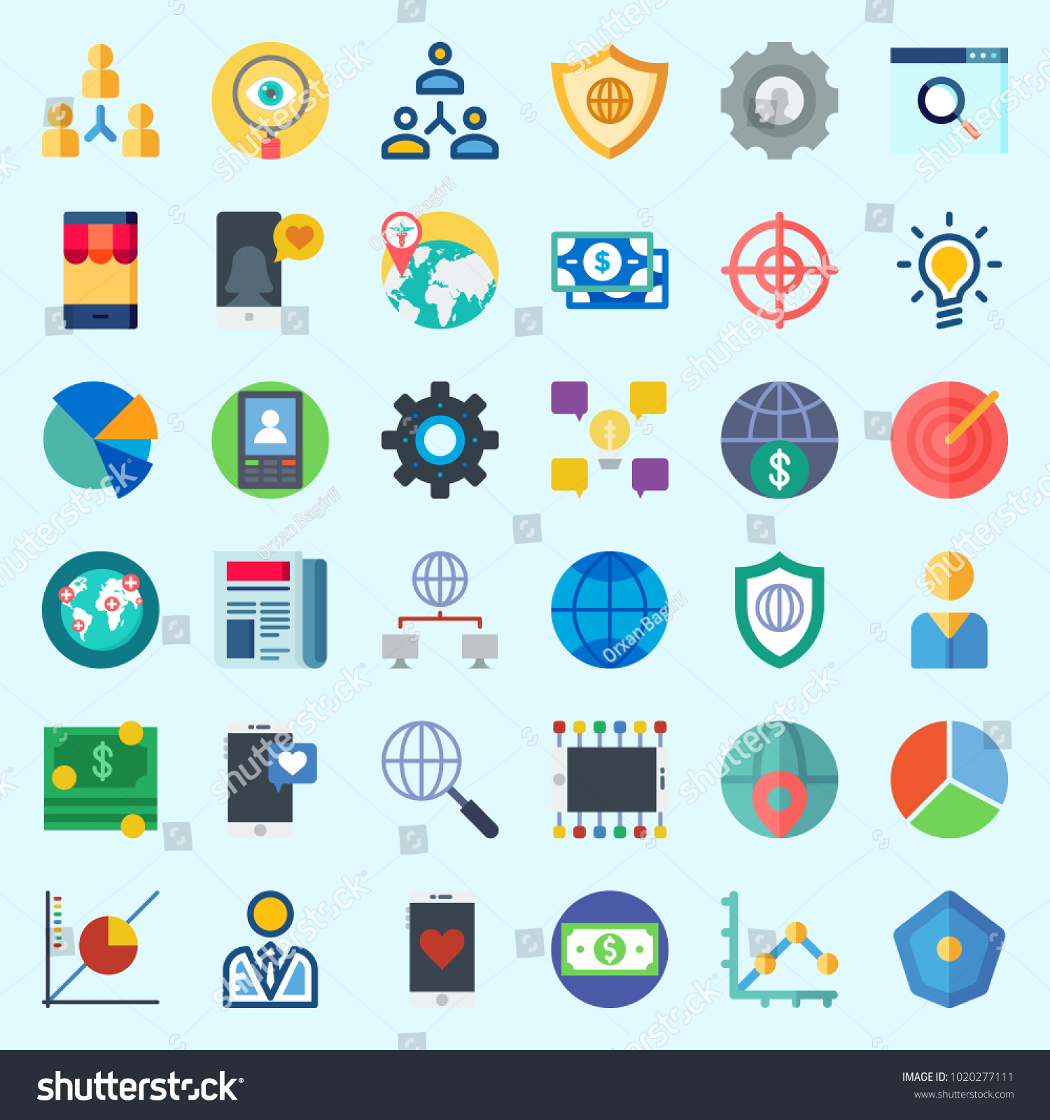 Icons About Marketing Search Internet Pie Stock Vector 1020277111