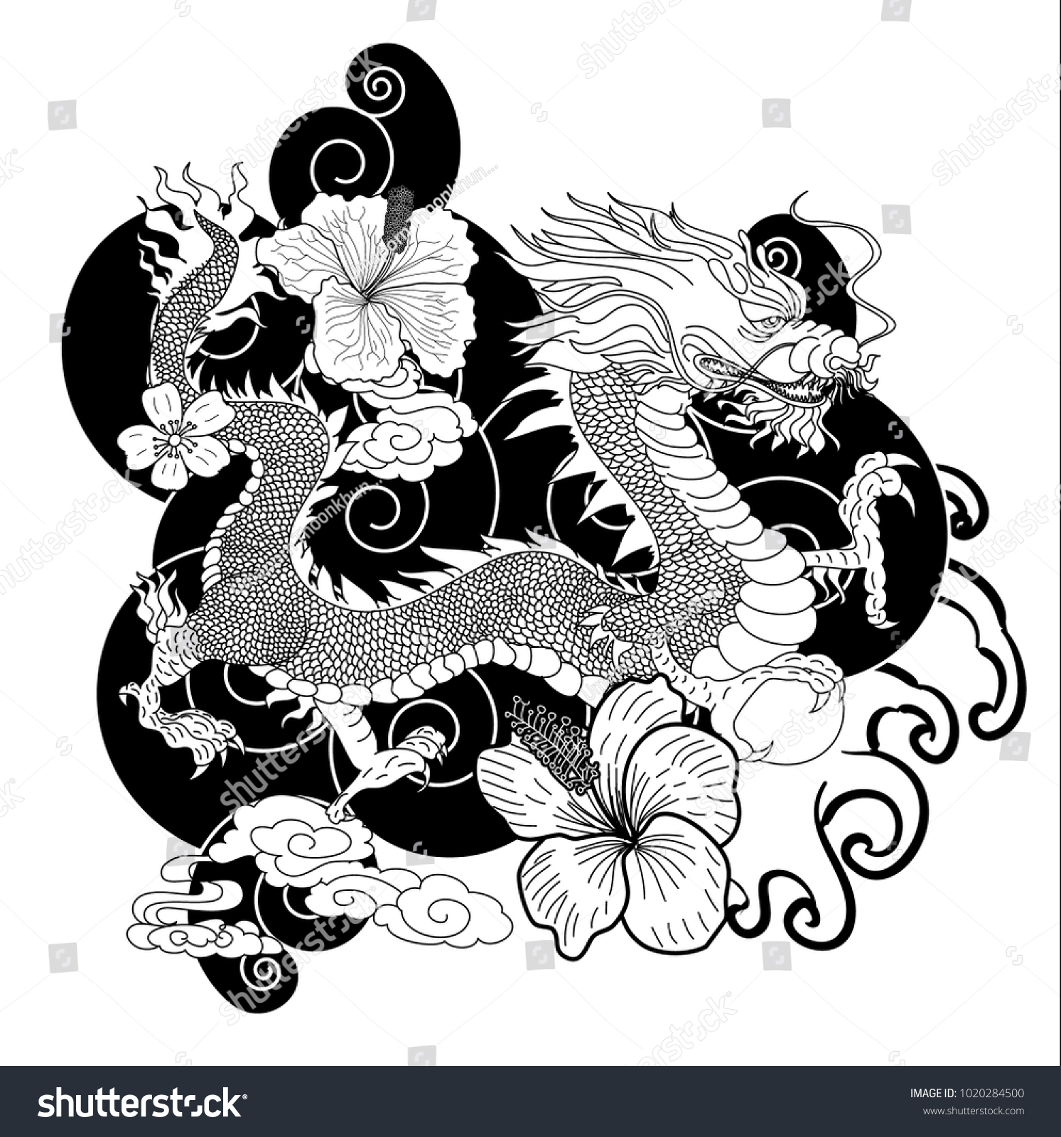 Black And White Japanese Dragon For Wallpaper And Tattooinese