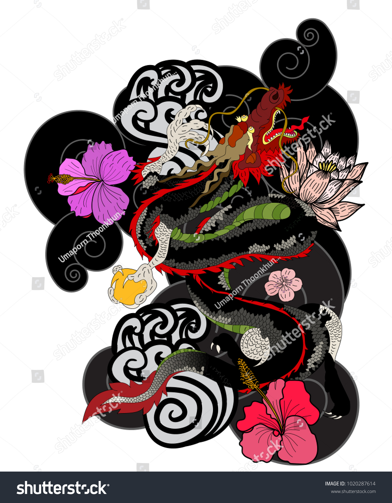 Red Japanese Dragon Wallpaper Background Tattoo 1020287614