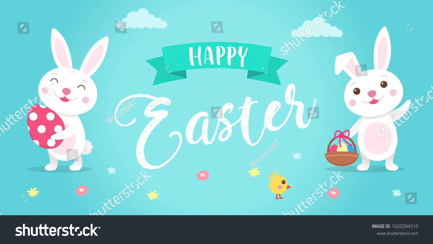 Happy Easter Illustration With Cute Cartoon Easter Bunny Eggs