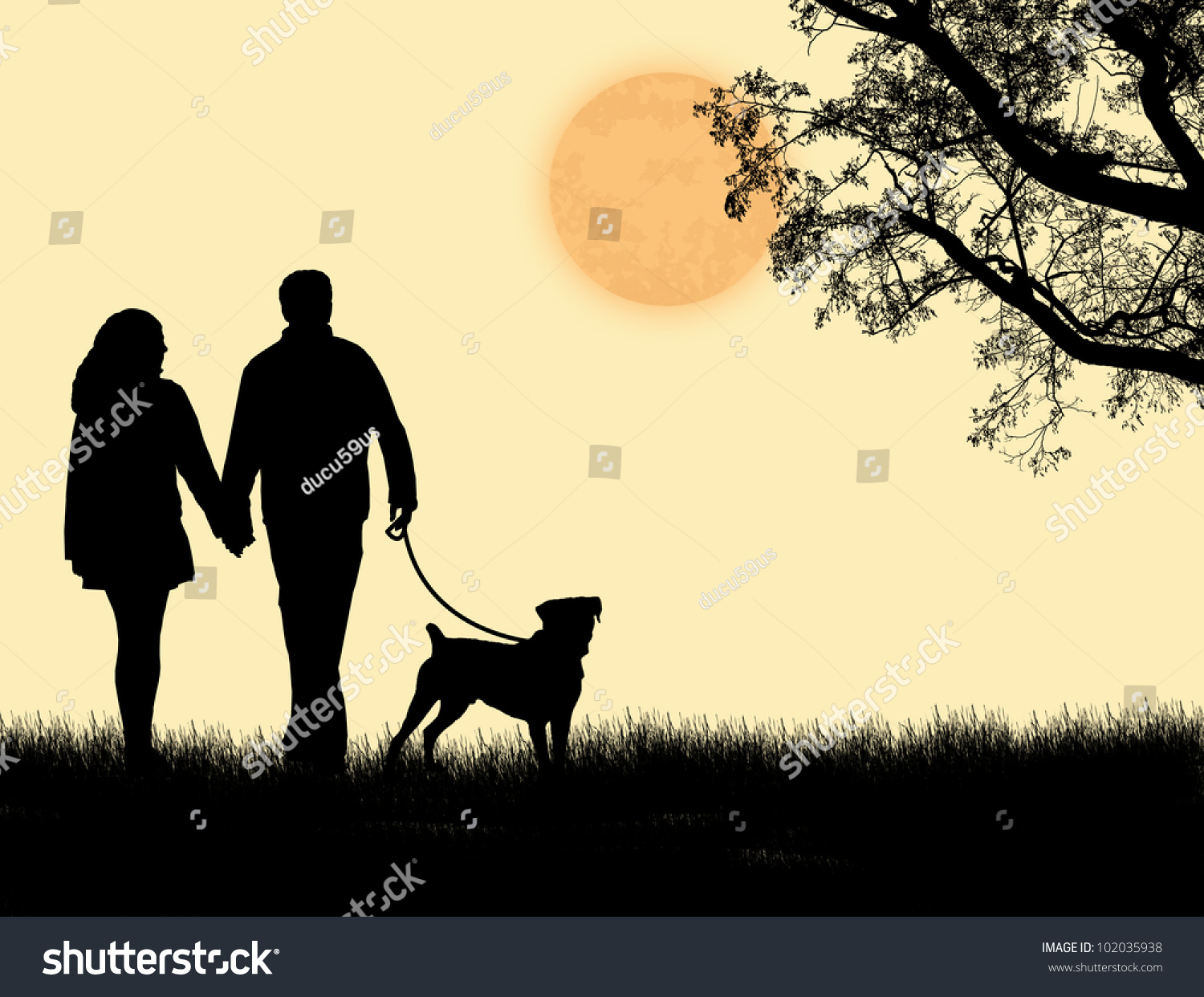 silhouette couple walking their dog on stock vector