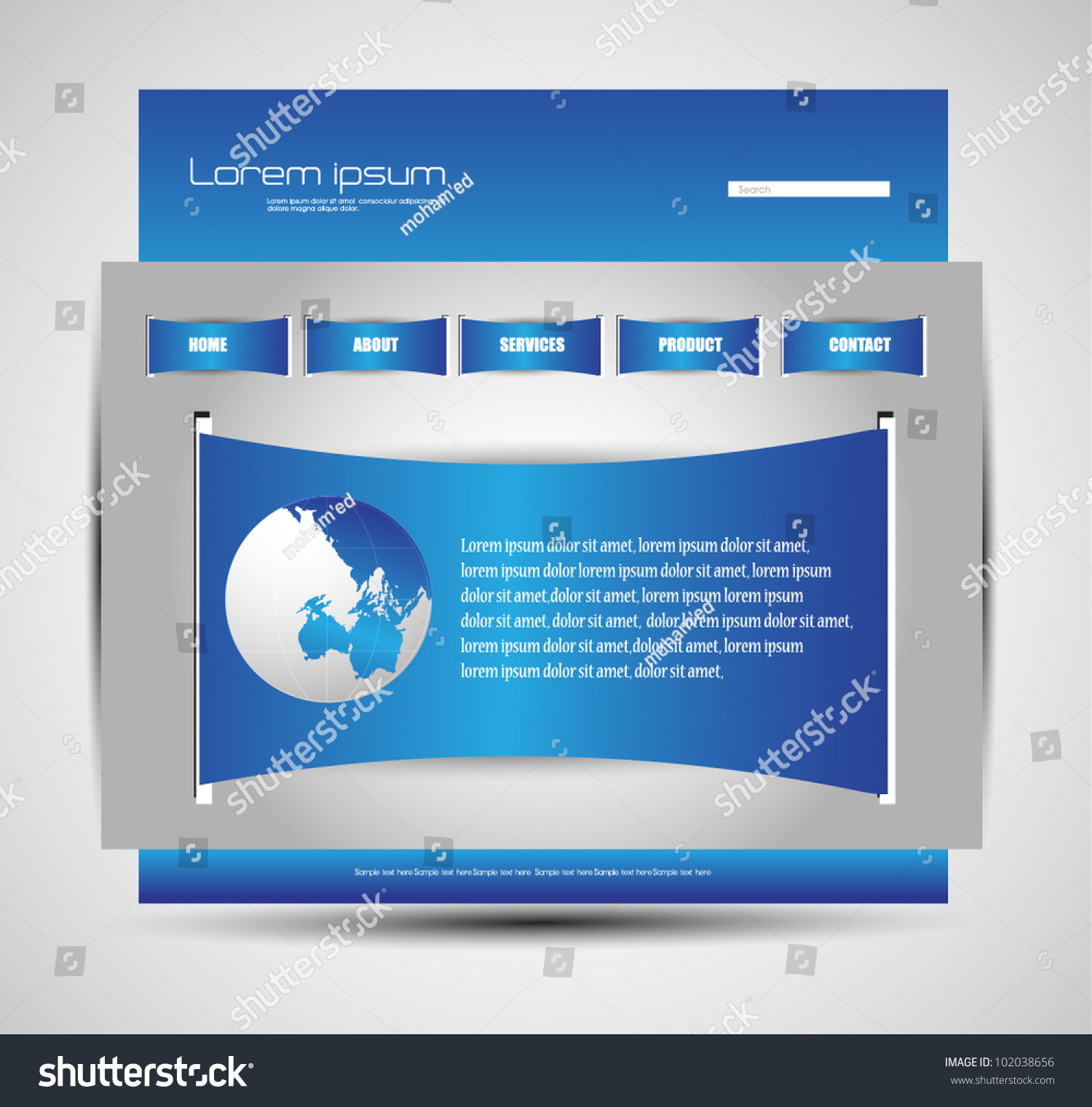 Modern Web Design Template Stock Vector 102038656