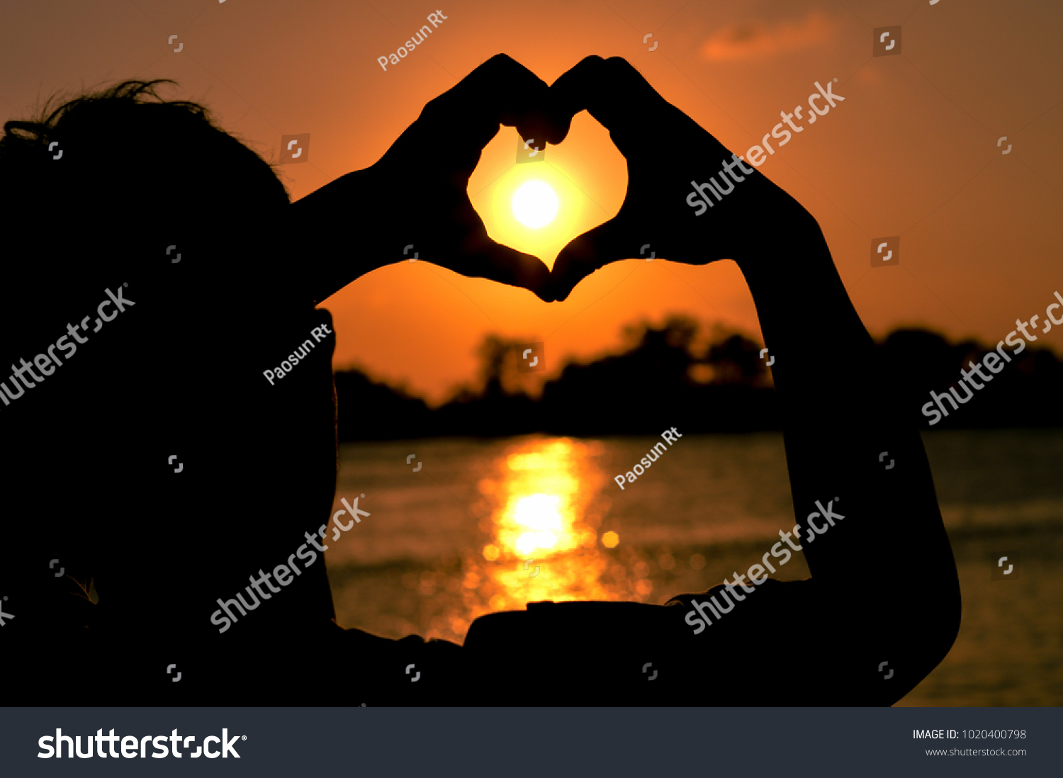 Silhouette Man Lift Hand Forming Heart Stock Photo Edit Now