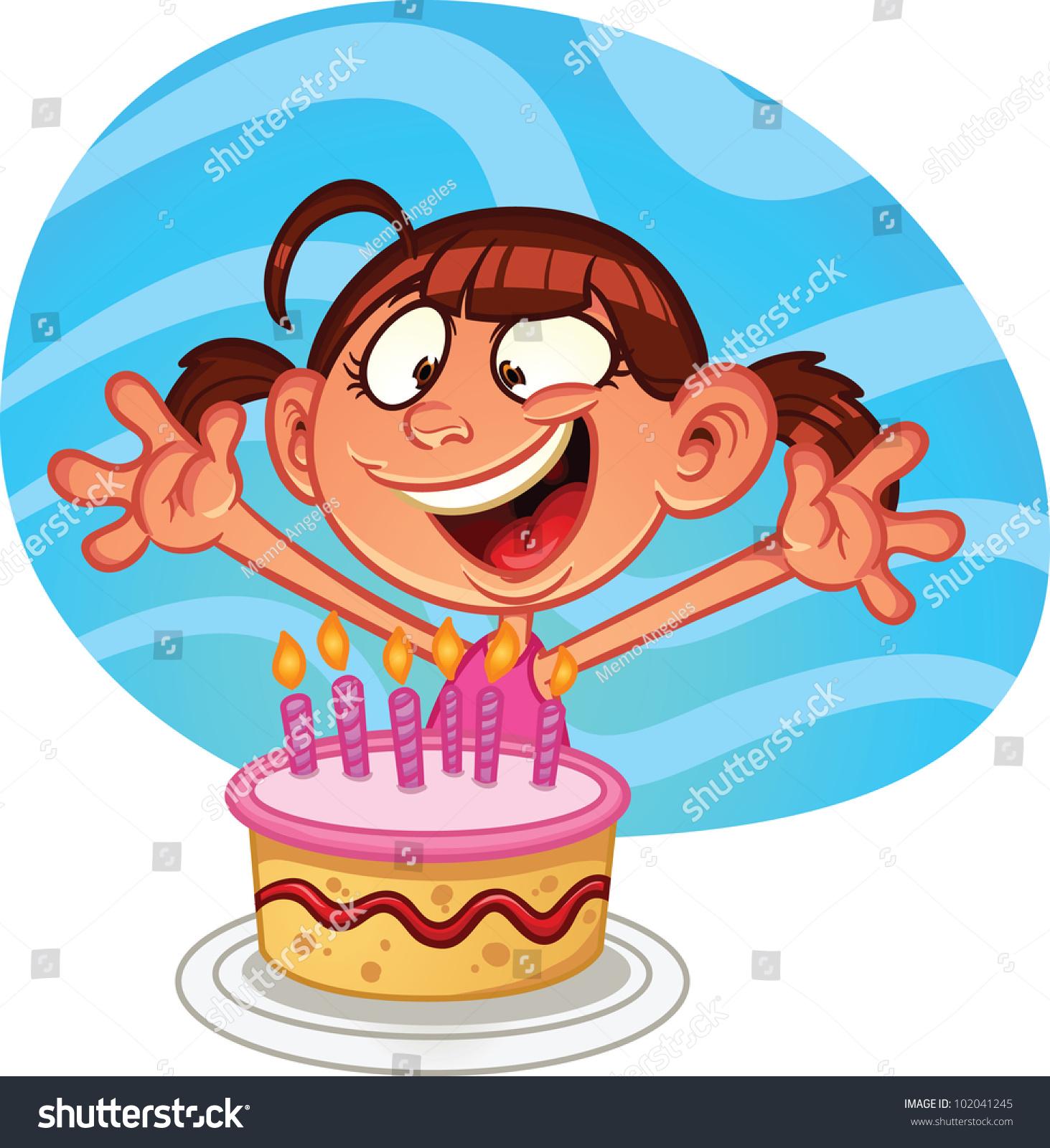 Cute Cartoon Cake Images : Cute Cartoon Birthday Girl Cake Vector Stock Vector ...
