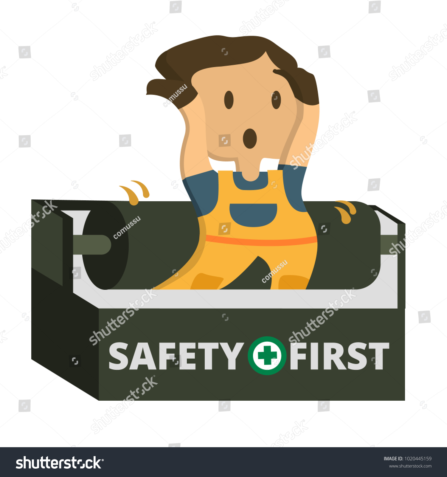 Construction Worker Accident Working Safety First Stock Vector Royalty Free 1020445159
