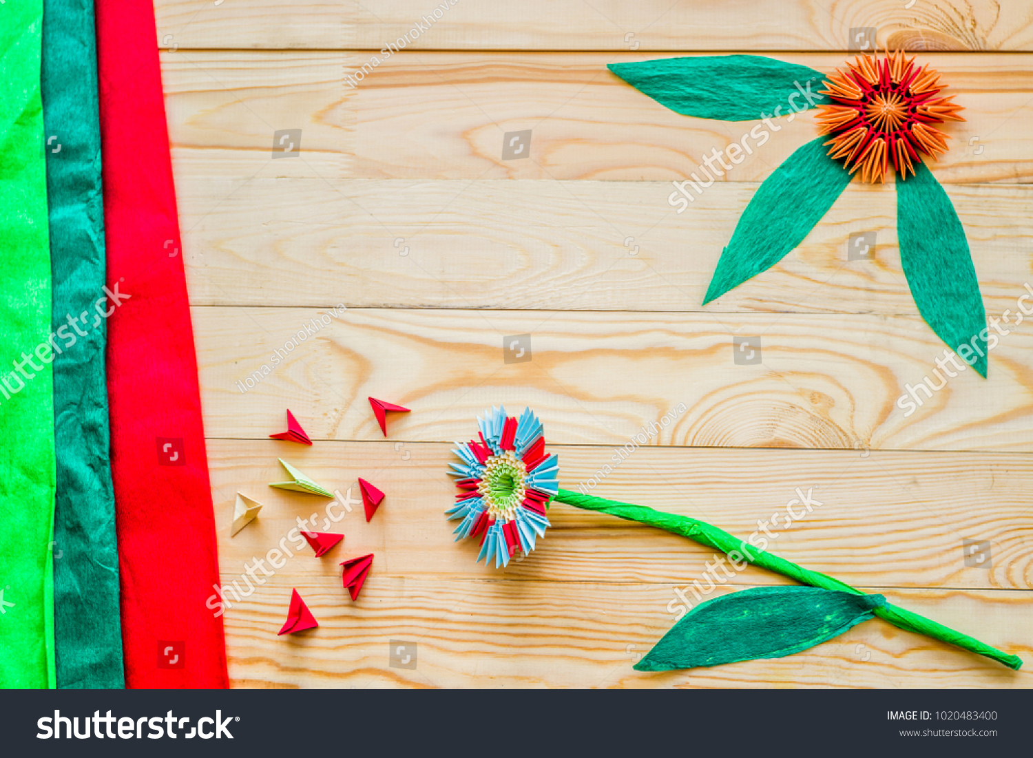 Modular Origami Flowers On Rustic Wooden Stock Photo Royalty Free