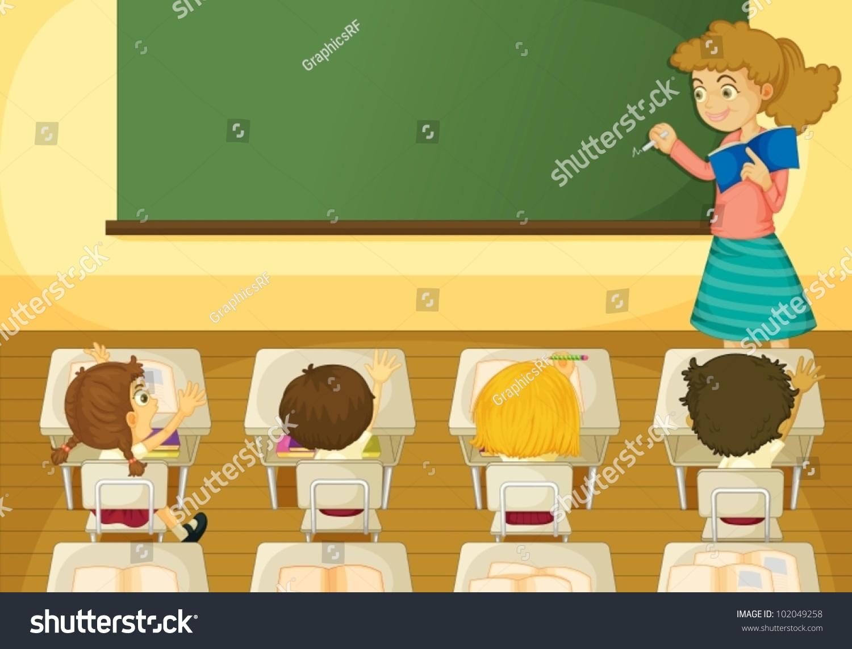 Illustration Classroom Scene Stock Vector 102049258