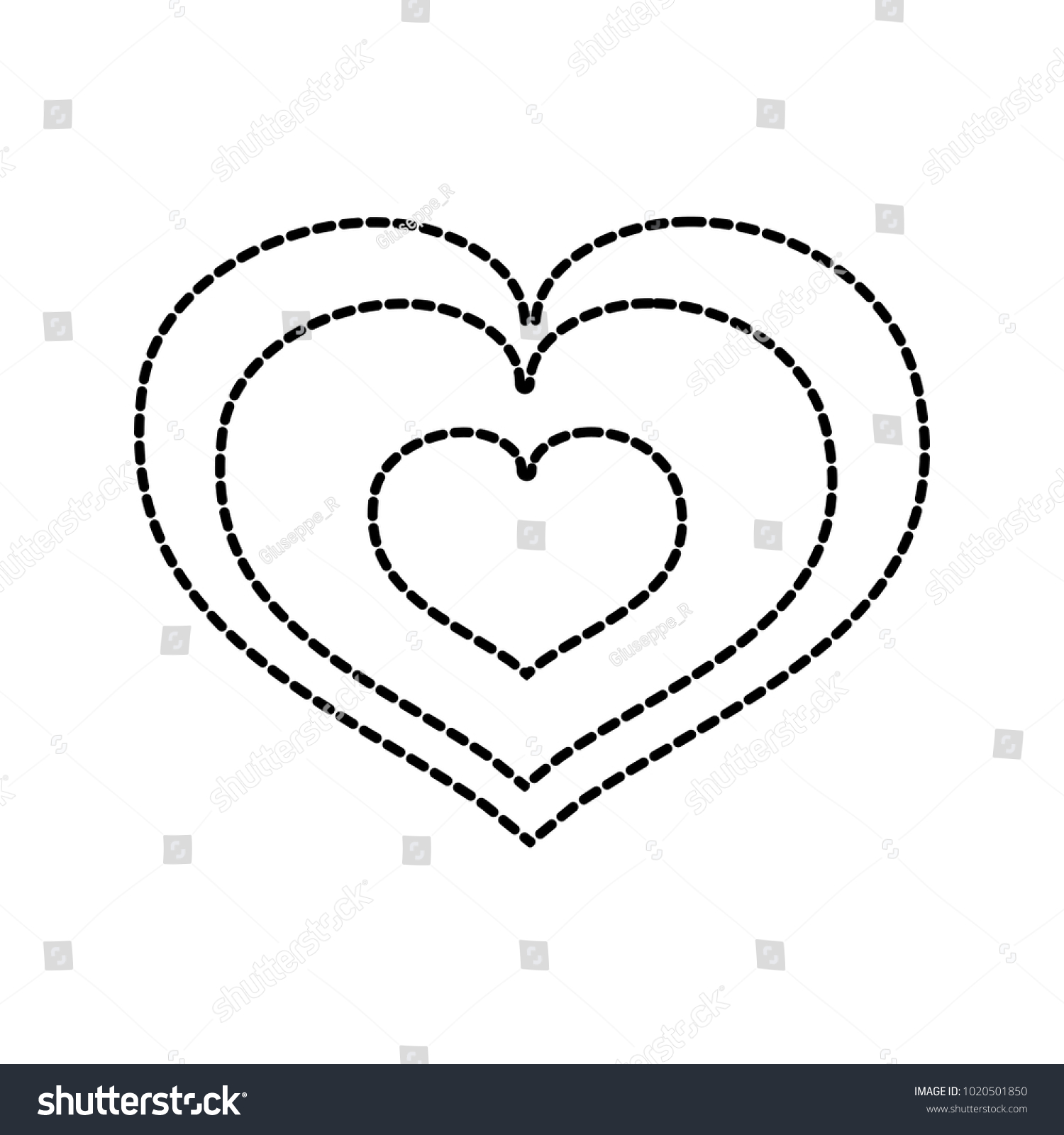Dotted Shape Heart Love Symbol Passion Stock Vector 1020501850