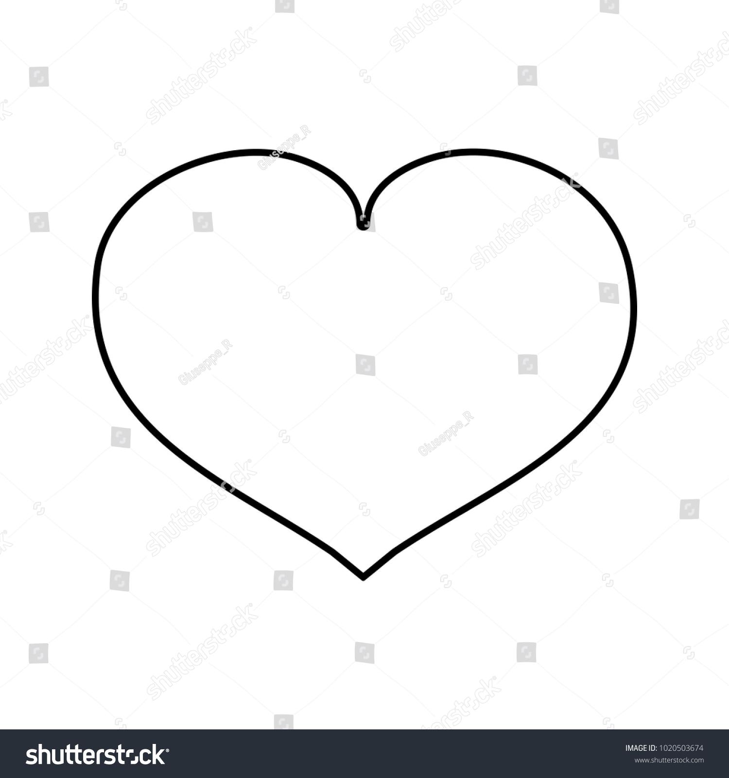 Line Heart Love Symbol Passion Stock Vector 1020503674 Shutterstock