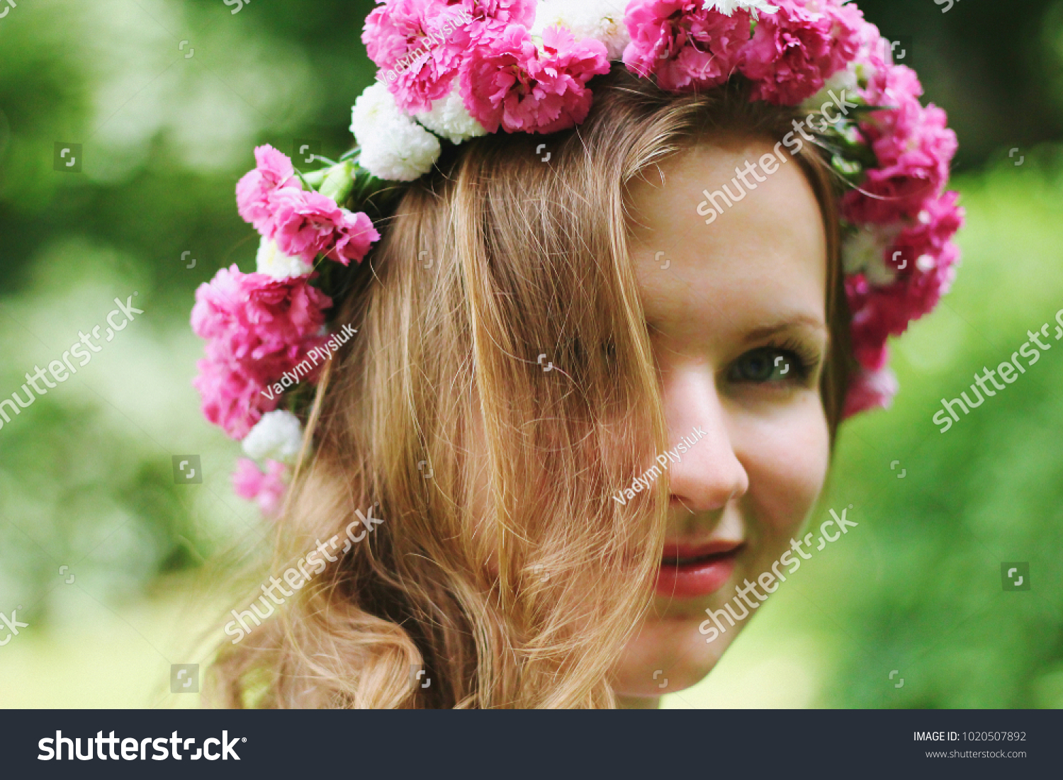 Beautiful girl pink flower crown smiles stock photo edit now beautiful girl in pink flower crown smiles you in summer park spring woman photo izmirmasajfo