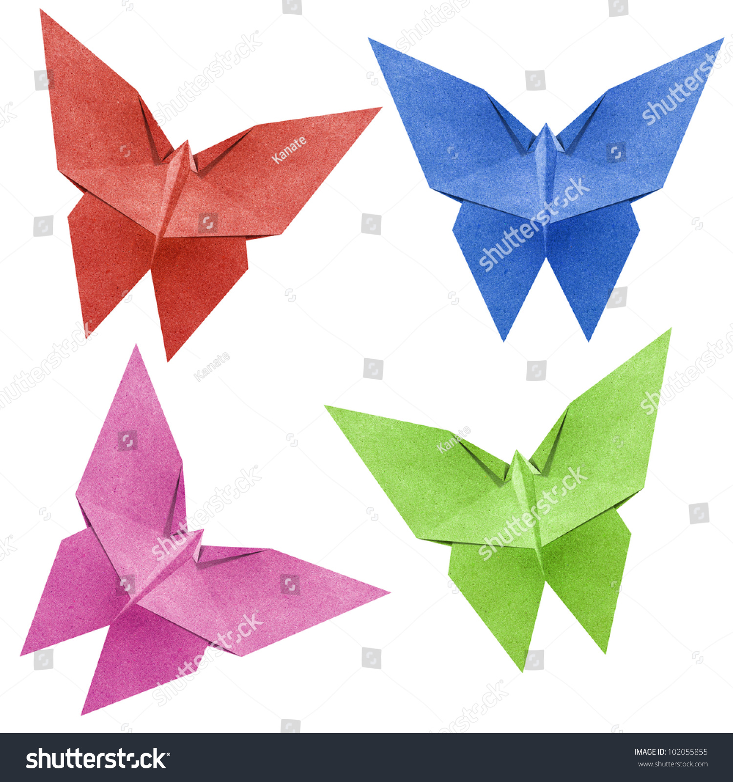 Origami Butterfly Made From Recycle Paper Stock Photo 102055855