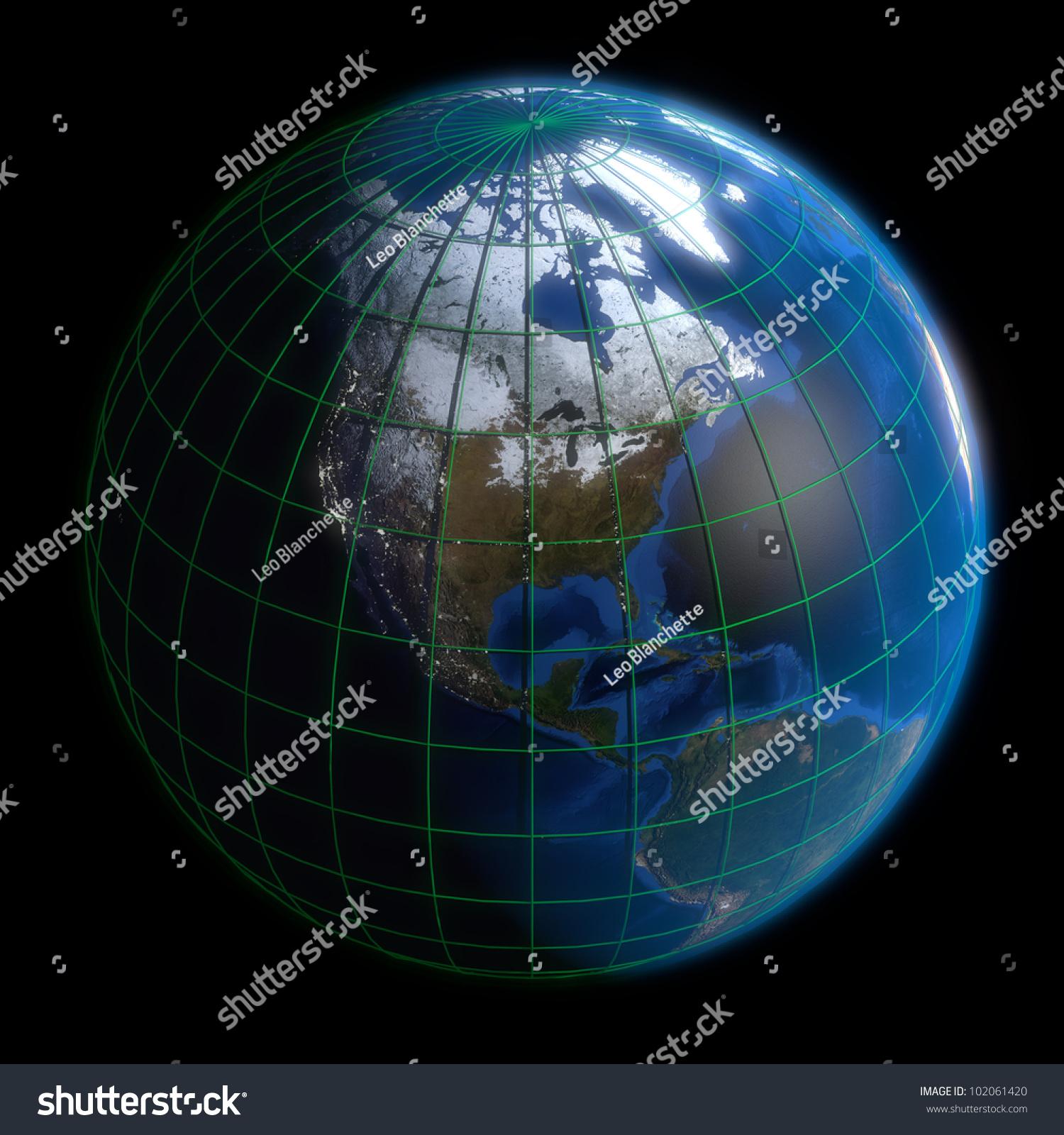 Earth Globe North America Latitude Longitude Stock Illustration - Map with latitude and longitude of north america