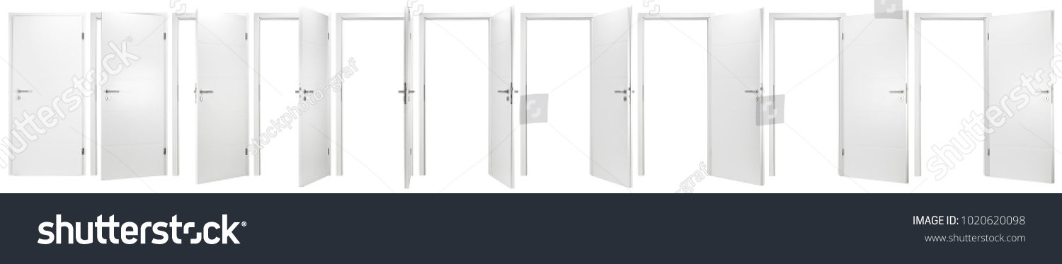 set collection of white open and closed doors with doorframe isolated on white background